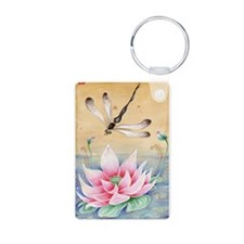 Lotus Dragonfly Art Keychains