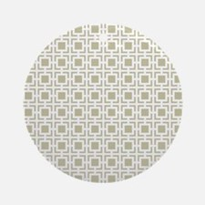 Beige Geometric Lattice Pattern Ornament (Round)