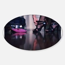 Young lady in heels and suitcase color fil Decal