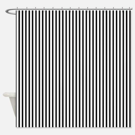 Thin black stripes Shower Curtain