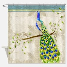 Peacock n Tail Feathers Baroque Lac Shower Curtain