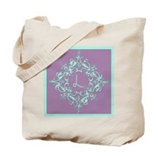Letter L Monogram Ornate Aqua And Purple Tote Bag