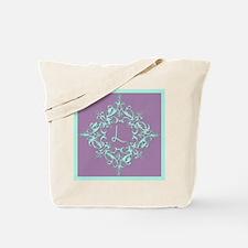 Letter L Monogram Ornate Aqua And Purple Tote Bag