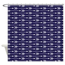 Navy Blue Arrows Pattern Shower Curtain