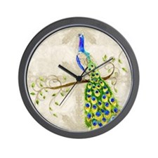 Peacock n Tail Feathers Baroque Lace Wa Wall Clock