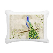 Peacock n Tail Feathers Rectangular Canvas Pillow