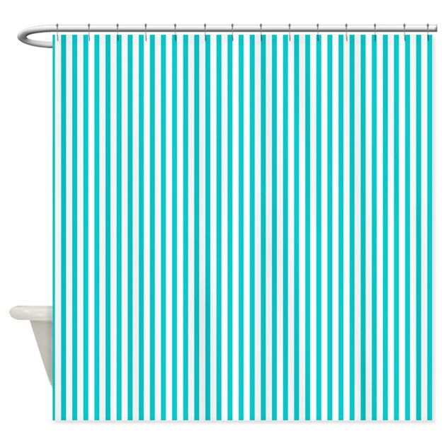 Thin Dark Turquoise Stripes Shower Curtain By