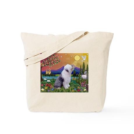Fantasy Scene with Old English Sheepdog Tote Bag