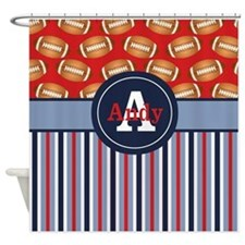 Football Navy Red Personalized Shower Curtain