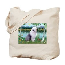 Birches Scene with Old English Sheepdog Tote Bag