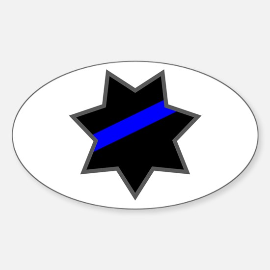 Blue Line Badge 4 Oval Decal