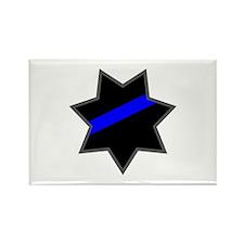 Blue Line Badge 4 Rectangle Magnet