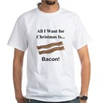 Christmas Bacon White T-Shirt
