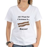Christmas Bacon Women's V-Neck T-Shirt