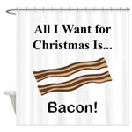 Christmas Bacon Shower Curtain