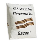 Christmas Bacon Burlap Throw Pillow