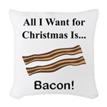 Christmas Bacon Woven Throw Pillow