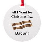 Christmas Bacon Round Ornament