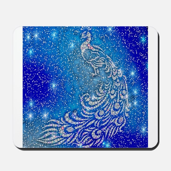 Sparkling Blue & White Peacock Mousepad