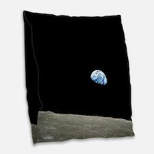 Apollo 8 1968 Earth From Moon Burlap Throw Pillow
