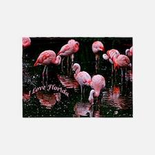 Pink Flamigos I Love Florida 5'x7'Area Rug
