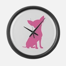 Pink Chihuahua - Large Wall Clock