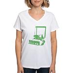 Retro Record Player Women's V-Neck T-Shirt - green