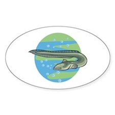 Swimming Eel Design Oval Decal
