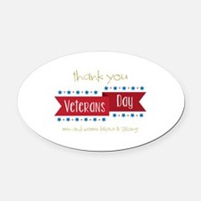Thank You Veterans Oval Car Magnet