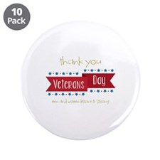 "Thank You Veterans 3.5"" Button (10 pack)"