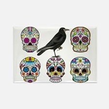 Sugar Skull By Design With Raven Rectangle Magnet