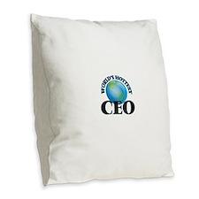 World's Hottest Ceo Burlap Throw Pillow