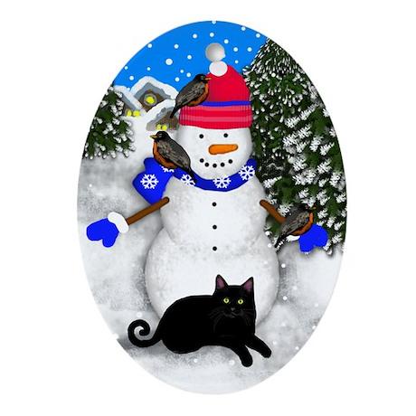 Black Cat Snowman Oval Ornament