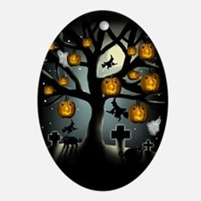 HALLOWEEN TREE WITCH MOON Oval Ornament