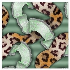 Leopards'n Lace - Green Wall Art Poster