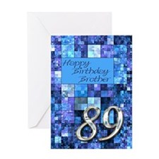 89th Birthday card for a brother,with abstract squ