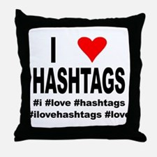 I Love Hashtags Throw Pillow