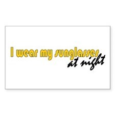 Sunglasses at night Rectangle Decal