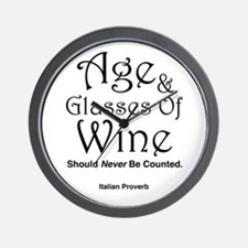 Age & Glasses Of Wine Wall Clock