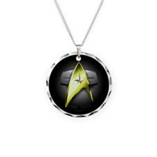 black and gold voyager Necklace Circle Charm
