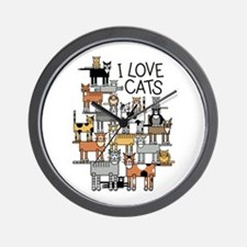 I Love Cats Wall Clock