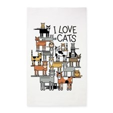 I Love Cats 3'x5' Area Rug