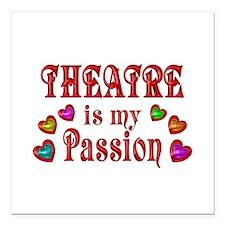 "Theatre Passion Square Car Magnet 3"" x 3"""