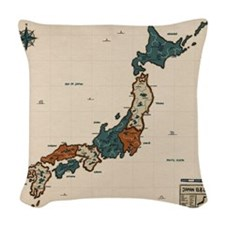 Vintage Map Japan Woven Throw Pillow