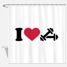 I love barbell dumbbell Shower Curtain