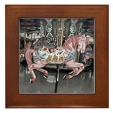 Pretty carousel horse Framed Tile