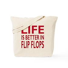 Life Is Better In Flip Flops Block Print Red Tote
