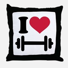 I love barbell dumbbell Throw Pillow