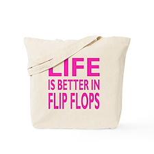 Life Is Better In Flip Flops Block Pink Trans Tote