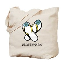 Flip Flop Flowers Turquoise Tote Bag